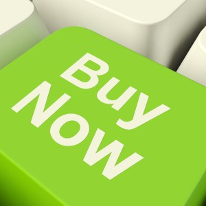 Buy Now Computer Key In Green Showing Purchases And Online Shopping